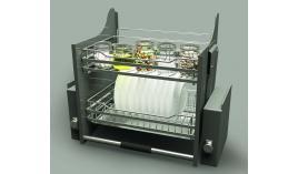 Bộ rổ úp chén dĩa nâng hạ lưới tròn LENTO R600mm mạ chrome Cucina 504.76.204