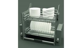 Bộ rổ úp chén dĩa nâng hạ lưới dẹt LENTO R600mm mạ chrome Cucina 504.76.214