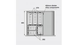 Bộ khay chia inox trắng mờ cho ngăn kéo R500mm Hafele 552.52.893